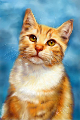 Pet Portraits Digital Art - Sweet William Orange Tabby Cat Painting by Michelle Wrighton