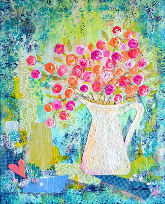 Collage Painting - Sweetheart Roses by Carla Parris