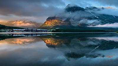 Montana Photograph - Swiftcurrent Lake Sunrise by Dan Mihai