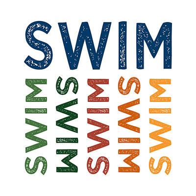 Swim Cute Colorful Print by Flo Karp