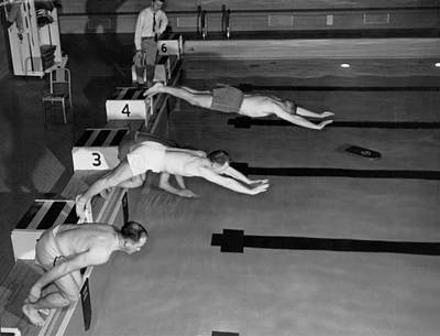 Swimming Race Start Print by Underwood Archives