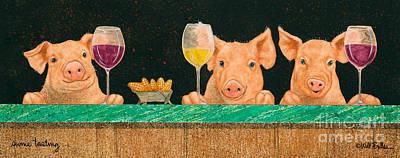 White Wine Painting - Swine Tasting... by Will Bullas