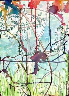Child Swinging Painting - Swing Uphill Abstract by Mukta Gupta