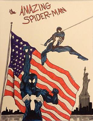 Super Hero Drawings Drawing - Swinging by Dan Wagner