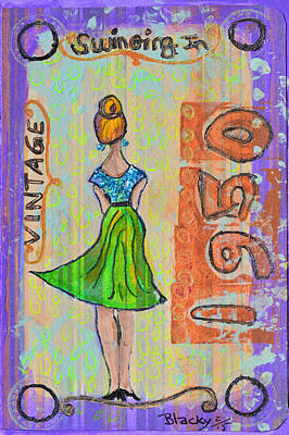 Gown Mixed Media - Swinging In 1950 by Donna Blackhall