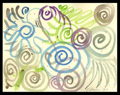 Mystifying Painting - Swirl Factory With Flowers by Cathy Peterson