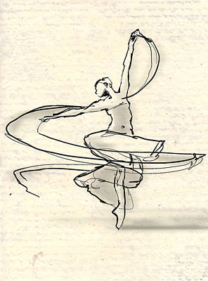 Ballet Drawing - Swirl by H James Hoff