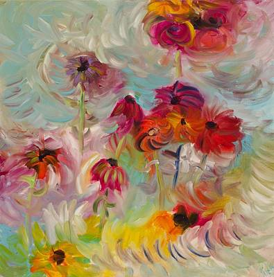 Abstracted Coneflowers Painting - Swirling Flowers by Jim Tucker
