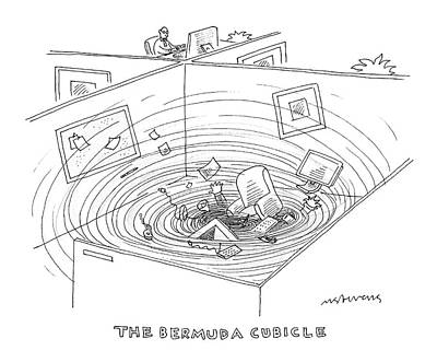 Cubicle Drawing - Swirling Vortex Of Office Supplies Disappearing by Mick Stevens