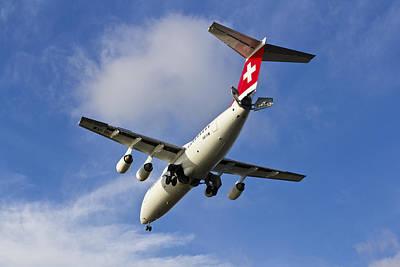 Swiss Air Bae146 Hb-ixw Print by David Pyatt