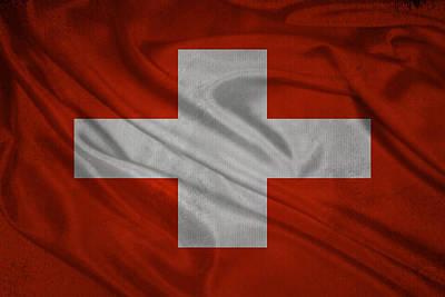 Switzerland Mixed Media - Swiss Flag Waving On Aged Canvas by Eti Reid