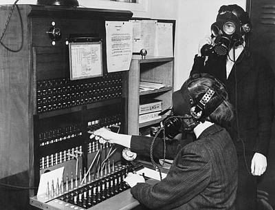 Switchboard Gas Masks Print by Underwood Archives