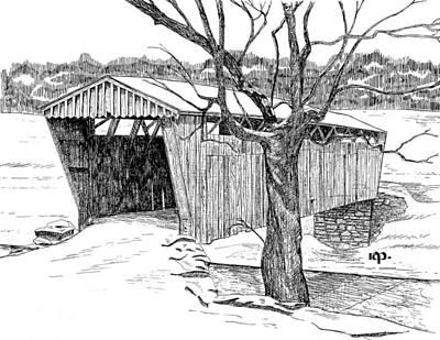 Covered Bridge Drawing - Switzer Covered Bridge by Robert Powell