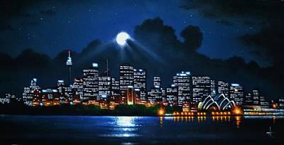 Sydney Skyline Painting - Sydney 2 by Thomas Kolendra