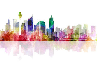Koala Digital Art - Sydney Australia Skyline 2 by Daniel Hagerman