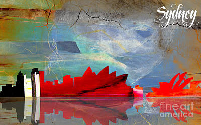 Sydney Skyline Mixed Media - Sydney Australia Skyline Watercolor by Marvin Blaine