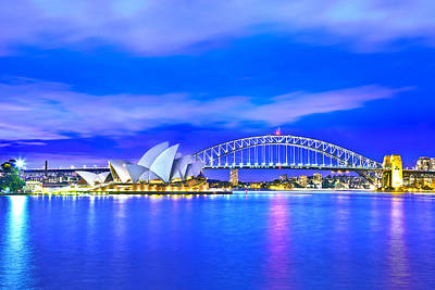 Vivid Festival Photograph - Sydney Harbour Blues by Az Jackson