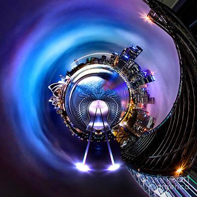 Bright Blue Photograph - Sydney Harbour Skyline Circagraph by Az Jackson