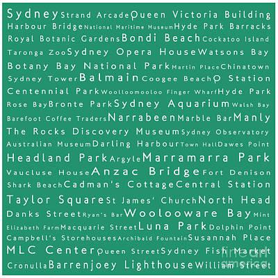 Hyde Park Digital Art - Sydney In Words Algae by Sabine Jacobs