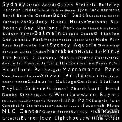 Hyde Park Digital Art - Sydney In Words Black by Sabine Jacobs