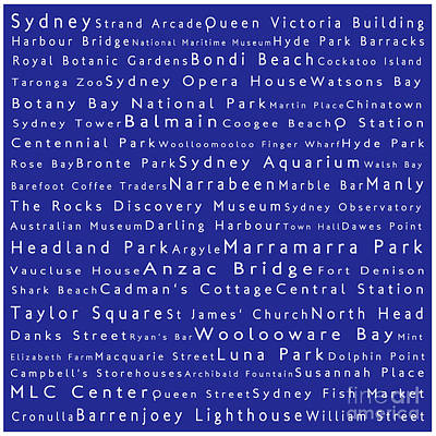 Typography Digital Art - Sydney In Words Blue by Sabine Jacobs
