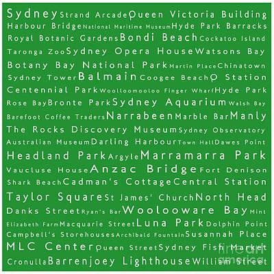 Hyde Park Digital Art - Sydney In Words Green by Sabine Jacobs