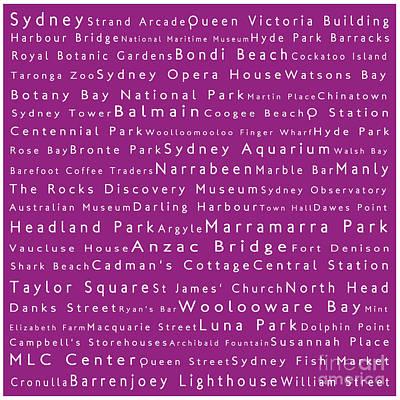 Hyde Park Digital Art - Sydney In Words Pink by Sabine Jacobs