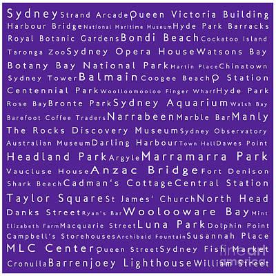 Hyde Park Digital Art - Sydney In Words Purple by Sabine Jacobs