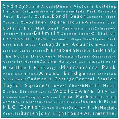 Luna Park Digital Art - Sydney In Words Teal by Sabine Jacobs