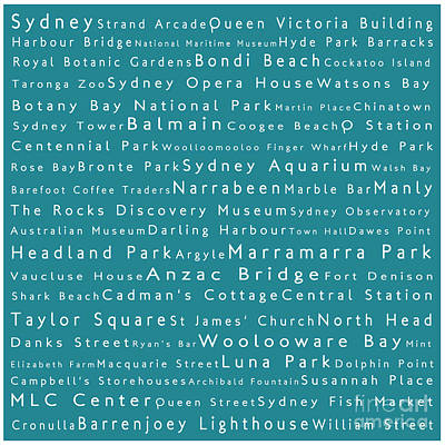 Hyde Park Digital Art - Sydney In Words Teal by Sabine Jacobs