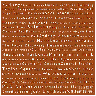 Hyde Park Digital Art - Sydney In Words Toffee by Sabine Jacobs