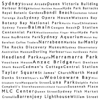 Sydney In Words White Print by Sabine Jacobs