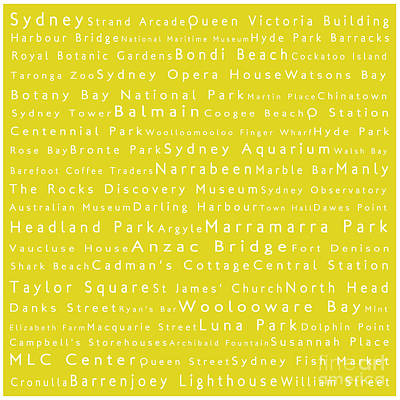 Cockatoo Digital Art - Sydney In Words Yellow by Sabine Jacobs