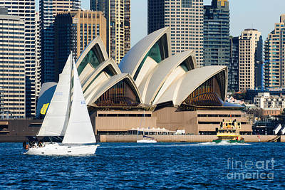 Sea Photograph - Sydney Opera House And Sydney Harbor With Yacht In Front by David Hill