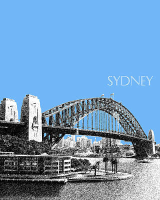 Sydney Skyline Digital Art - Sydney Skyline 2 Harbor Bridge - Light Blue by DB Artist