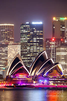 Sydney Skyline Photograph - Sydney Skyline At Night With Opera House - Australia by Matteo Colombo
