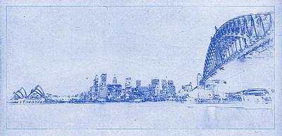 Sydney Skyline Digital Art - Sydney Skyline Blueprint by Kaleidoscopik Photography