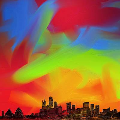 Sydney Skyline Digital Art - Sydney Skyline In Oils by Andy Walsh