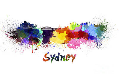 Sydney Skyline Painting - Sydney Skyline In Watercolor by Pablo Romero