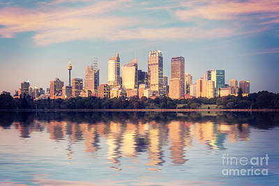 Sydney Skyline Photograph - Sydney Skyline Sunrise Square Australia by Colin and Linda McKie