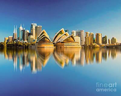 Sydney Skyline Digital Art - Sydney Skyline With Reflection by Algirdas Lukas