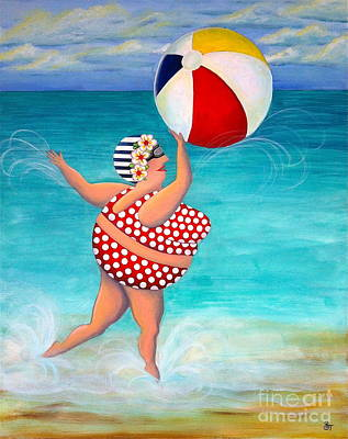 Sylvia At The Beach Print by Stephanie Troxell