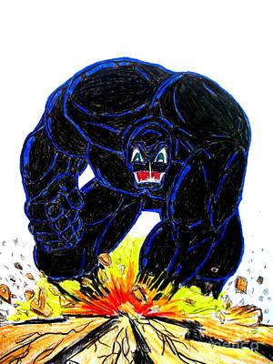 Super Hero Drawings Drawing - Symbiote Guy by Justin Moore