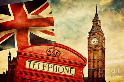 Clock Photograph - Symbols Of London England The Uk by Michal Bednarek