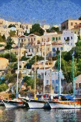 House Painting - Symi Island by George Atsametakis