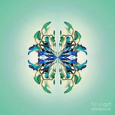 Symmetrical Orchid Art - Blues And Greens Print by Kaye Menner
