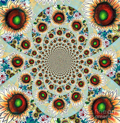Symphony Of Sunflowers Kaleidoscope Mandela Print by Genevieve Esson