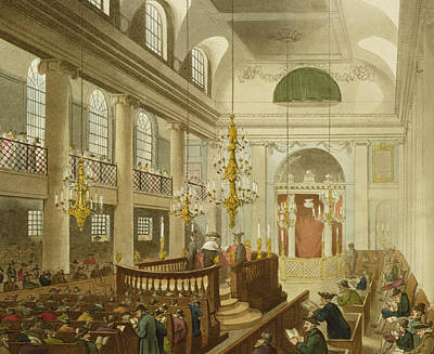 Synagogue Drawing - Synagogue At Dukes Place In Houndsditch by Pugin And Rowlandson