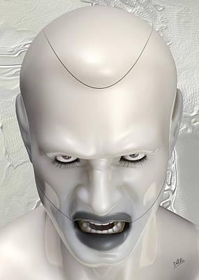 Surreal Figure Digital Art - White Terminator by Quim Abella