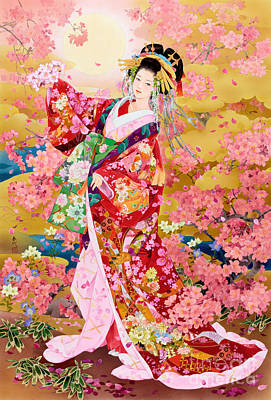 Japanese Cherry Blossoms Painting - Syungetsu by MGL Meiklejohn Graphics Licensing